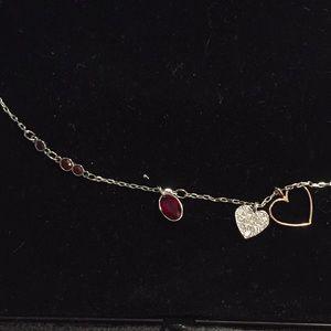 Swarovski Jewelry - Swarovski red ruby garnet heart necklace chain